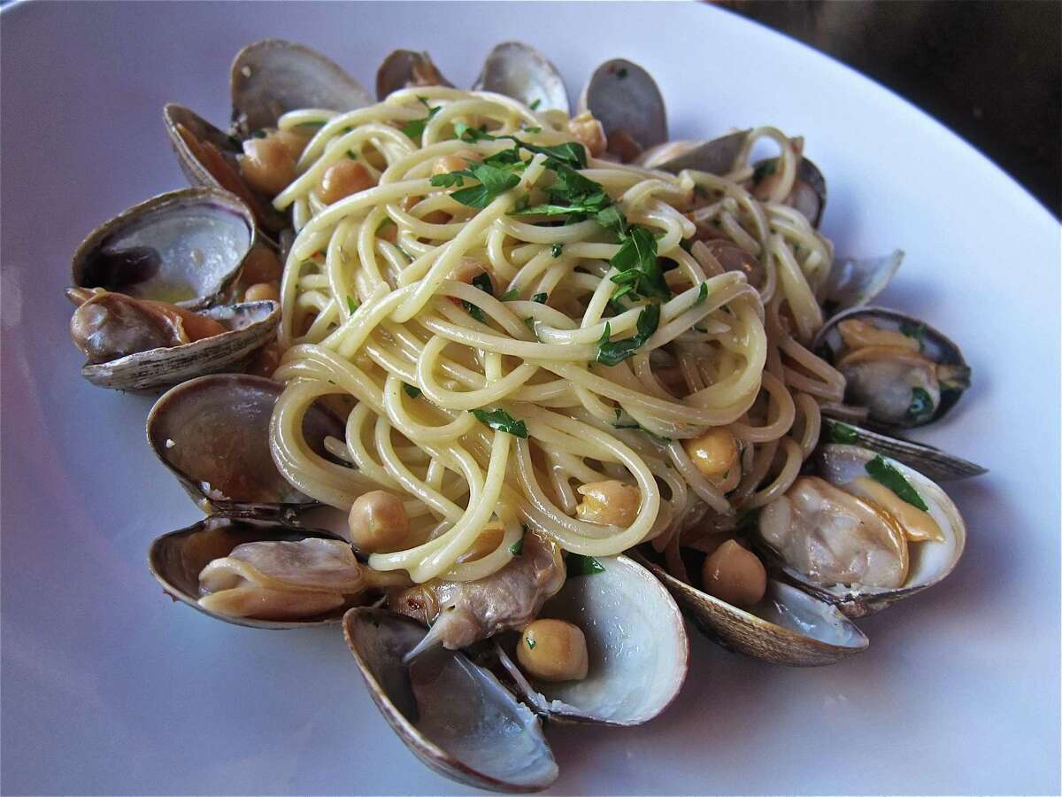 Spaghetti with clams and chickpeas at Dolce Vita