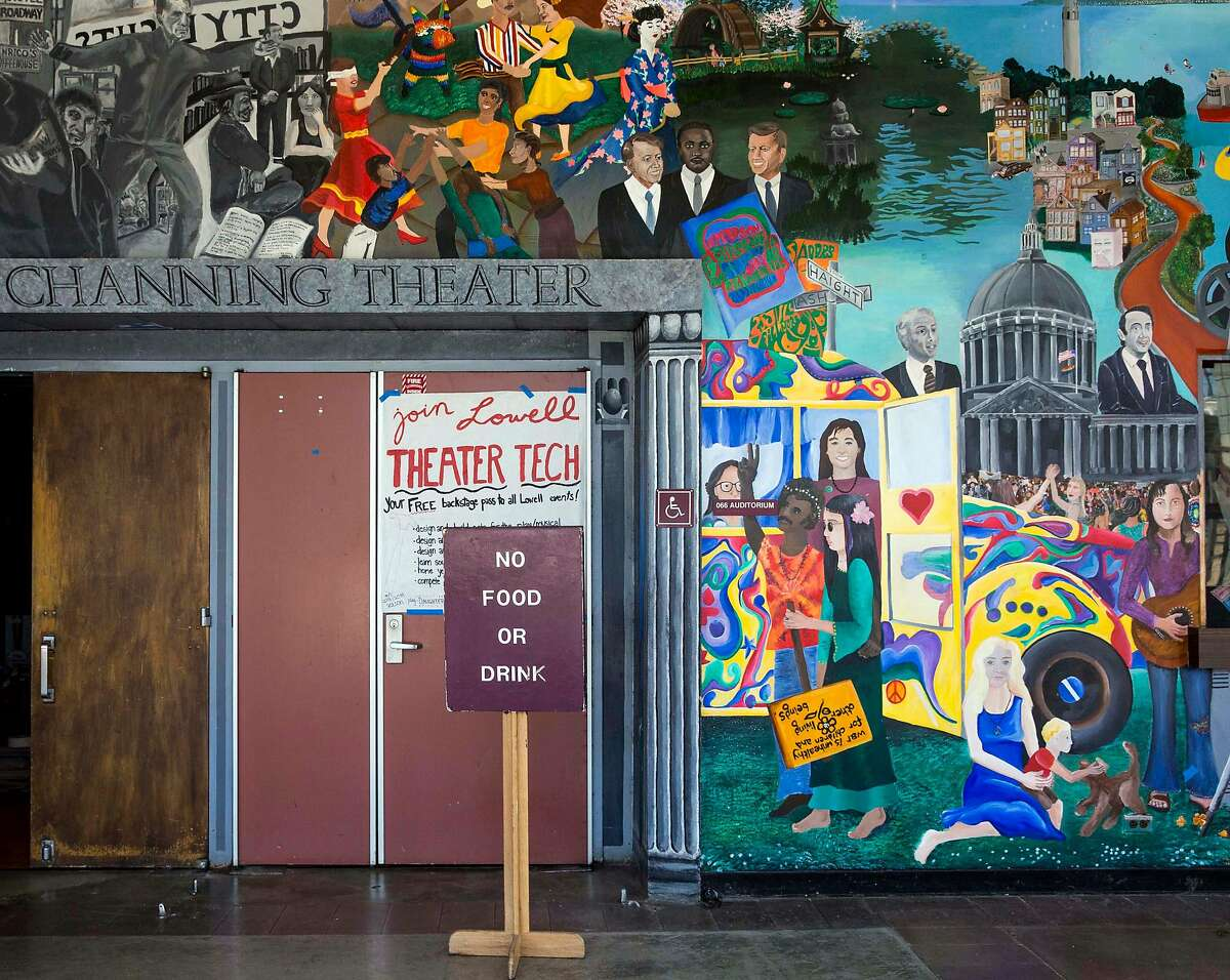 A vibrant and diverse mural on the Carol Channing Theater greets guests in the main lobby of Lowell High School in San Francisco, Calif. Friday, Sept. 21, 2018.