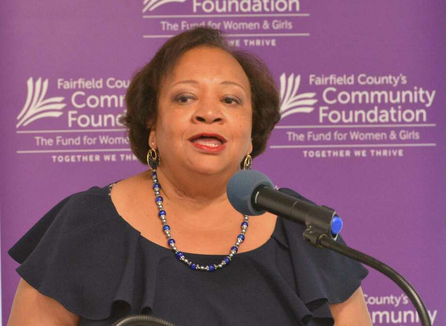Juanita T. James, president and CEO of Fairfield County's Community Foundation speaks during the launch of the Sexual Assault Prevention Initiative on Thursday. Photo: Alex Von Kleydorff / Hearst Connecticut Media / Norwalk Hour