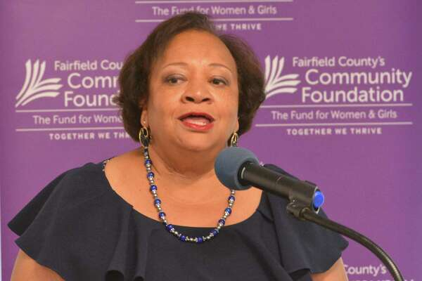 Juanita T. James, president and CEO of Fairfield County's Community Foundation speaks during the launch of the Sexual Assault Prevention Initiative on Thursday.