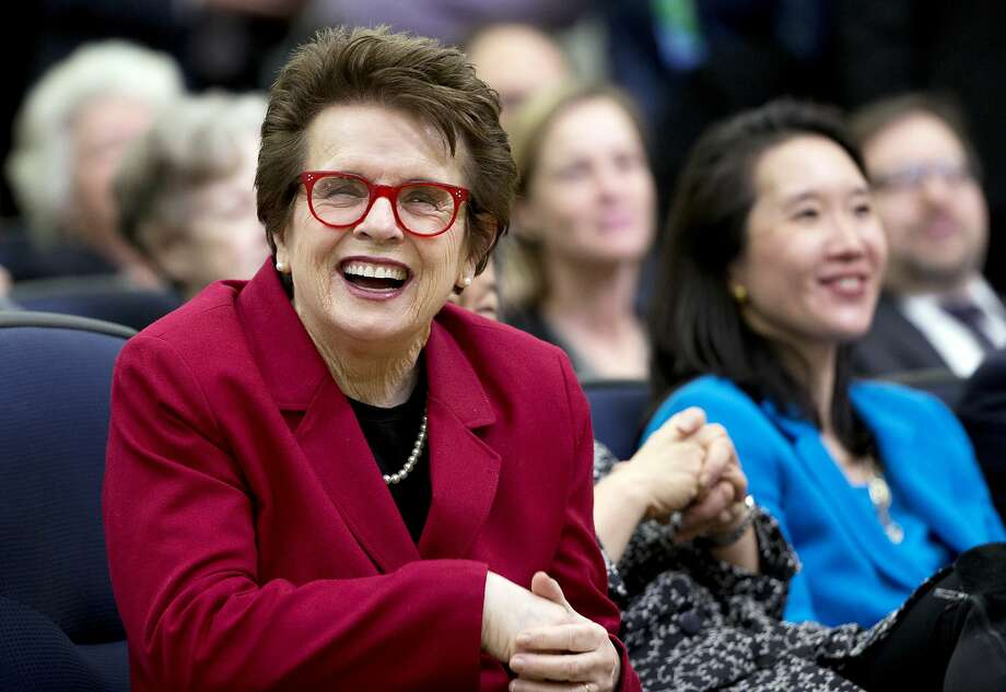 FILE - In this Jan. 29, 2016, file photo, tennis great Billie Jean King, left, laughs, reacting to President Barack Obama's remarks in the Eisenhower Executive Office Building on the White House complex in Washington. Billie Jean King and partner Ilana Kloss have joined the Los Angeles Dodgers ownership group. The Dodgers made the announcement Thursday, Sept. 20, 2018. The tennis great says Dodgers owner and chairman Mark Walter and the organization have proven to be leaders in sports on and off the field. (AP Photo/Manuel Balce Ceneta, File) Photo: Manuel Balce Ceneta / Associated Press