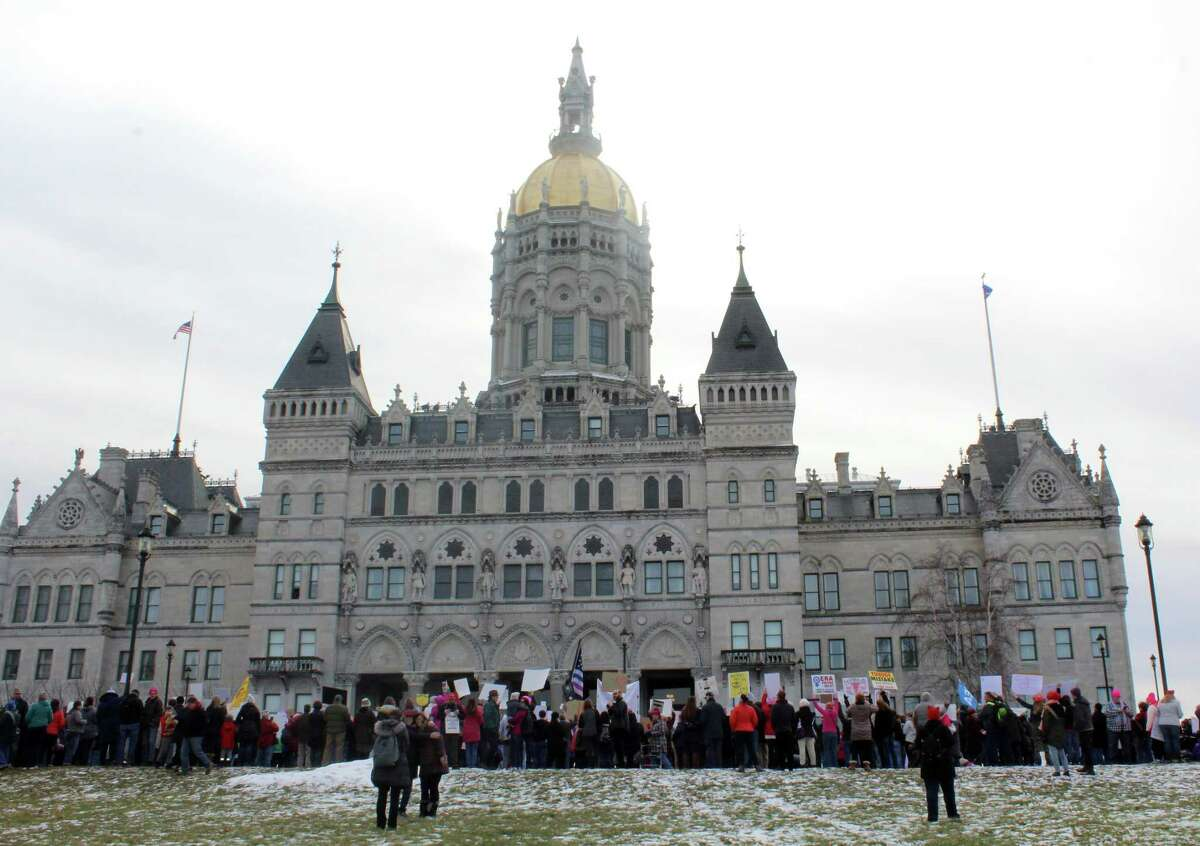 Marchers gathered outside the capitol building in Hartford in January for the Women's March Connecticut.