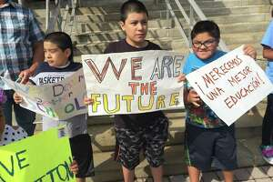 About 20 parents and children staged a protest outside of City Hall in Bridgeport Connecticut, on August 23, 2018 demanding better services for Latino students in the school district.
