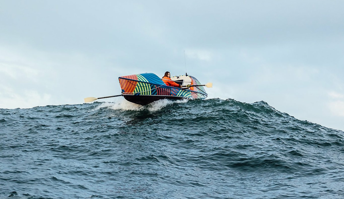 Rower Lia Ditton paddles through the Pacific just off the California coast.