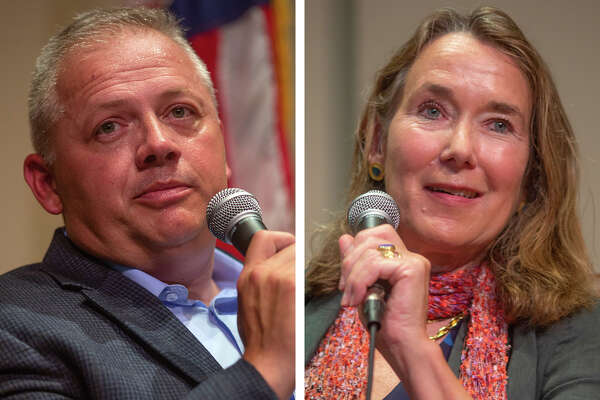Republican Denver Riggleman, left, and Democrat Leslie Cockburn are competing to fill an open seat in Virginia's 5th Congressional DistricT.