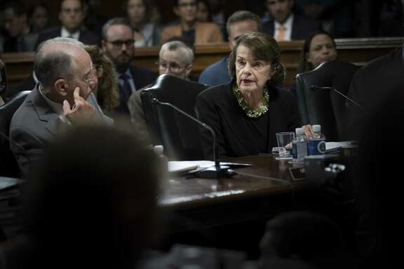 Sen. Dianne Feinstein, D-Calif., joined by Senate Judiciary Committee Chairman Chuck Grassley, R-Iowa, speaks Sept. 18 during a meeting of the committee to consider the nomination of Judge Brett Kavanaugh for the Supreme Court. Readers debate the nomination amid the explosive charge leveled against the nominee.