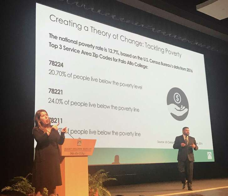 Palo Alto College's first Advocacy Symposium on Friday featured Gil Becerra, the college's vice president for student success, describing efforts to meet the food, housing and counseling needs of its growing enrollment.