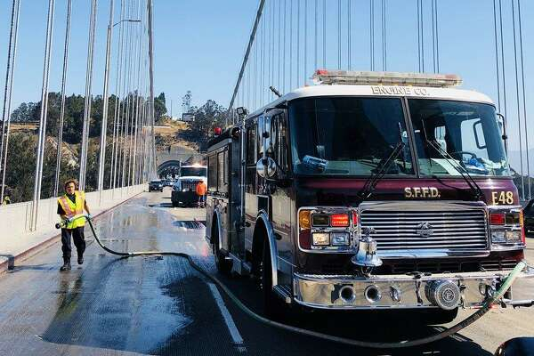 Three vehicles and one motorcycle crashed in the westbound lanes of the Bay Bridge just west of Treasure Island around 10:45 a.m. on Friday, Sept. 21, 2018, said Vu Williams, a public information officer with the California Highway Patrol in San Francisco. The motorcyclist, who was not immediately identified, died.