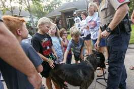 Sgt. David Birch, Montgomery County Sheriffs Office, steadies 3-year-old K-9 police dog, Hummer, as residents gather to pet him during the National Night Out event on Tuesday, Aug. 2, 2016, on Silver Crescent Circle in The Woodlands. This year, parties are to be held Sunday, Oct. 14. Packet Pick-Up day is Thursday, Sept. 27 from 10 a.m. to 6 p.m. at The Woodlands Township town hall at 2801 Technology Forest Blvd.
