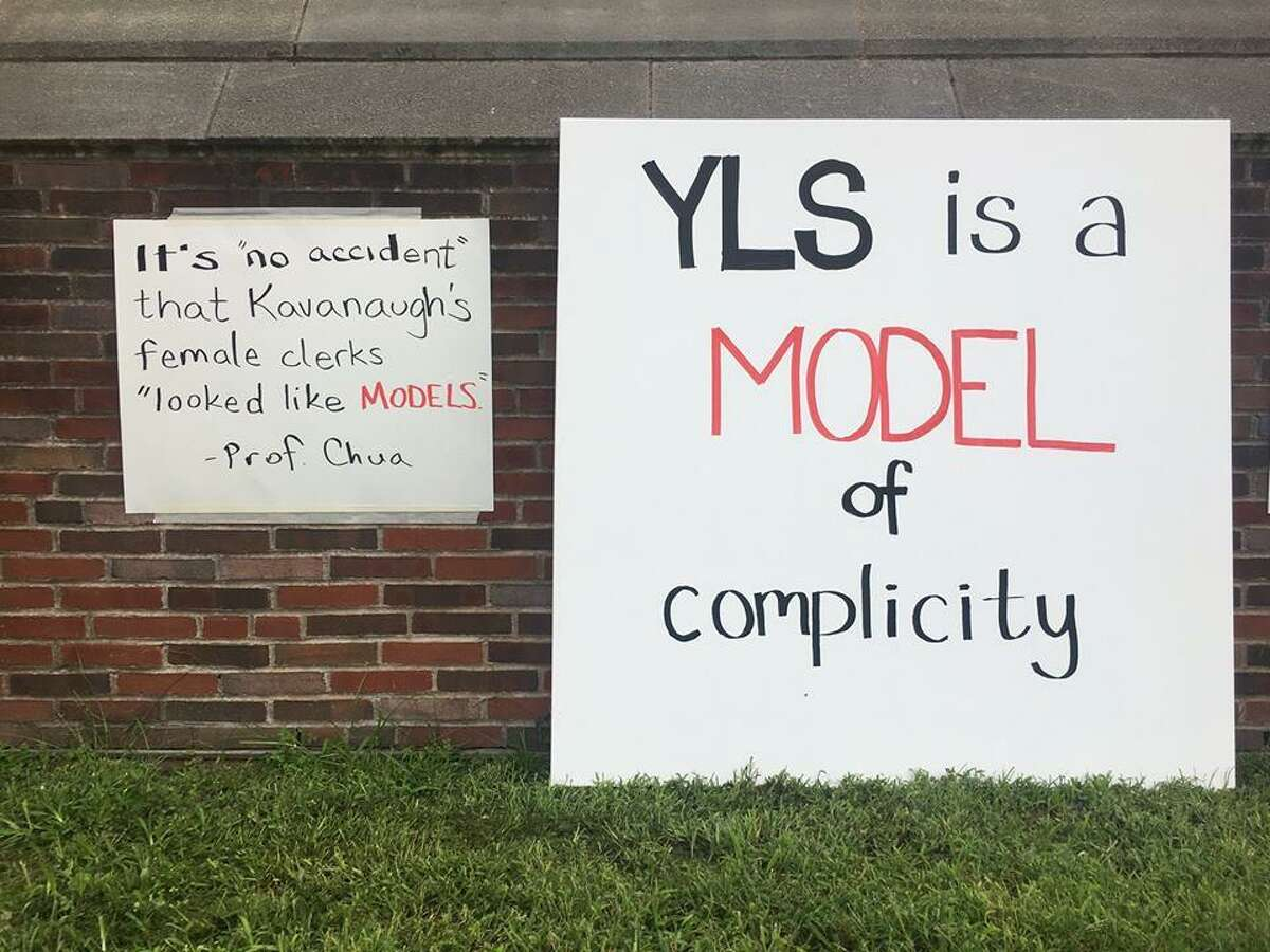 Signs posted around Yale LawSchool in New Haven