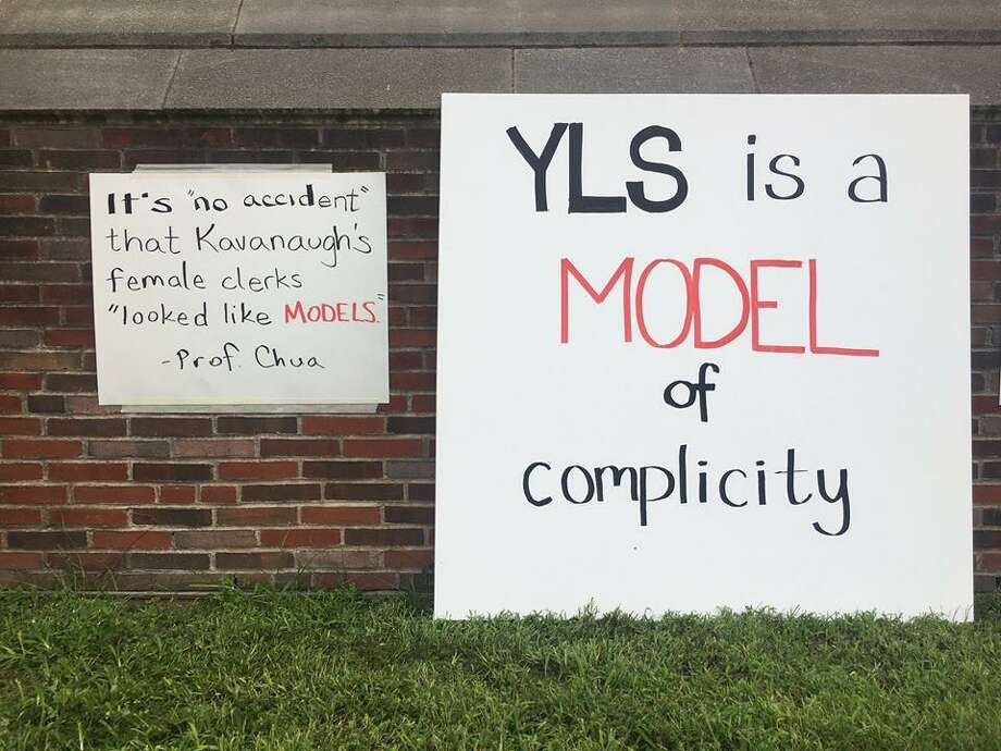 Signs posted around Yale LawSchool in New Haven Photo: Dana Bolger