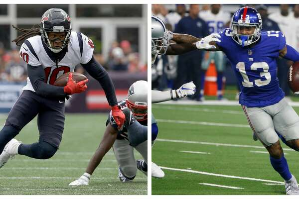 LEFT: Houston Texans wide receiver DeAndre Hopkins, left, runs from New England Patriots defensive back Devin McCourty (32) during the first half of an NFL football game, Sunday, Sept. 9, 2018, in Foxborough, Mass. (AP Photo/Steven Senne) RIGHT: New York Giants wide receiver Odell Beckham (13) runs past Dallas Cowboys cornerback Anthony Brown (30) during the second half of an NFL football game in Arlington, Texas, Sunday, Sept. 16, 2018. (AP Photo/Michael Ainsworth)
