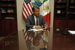 Texas Power Broker Q&A with Alex Hinojosa, managing director of the North American Development Bank. The bank provides fiancing for the implementation of infrastructure projects in the border region of the U.S. and Mexico. Photos taken on Thursday, Aug.9, 2018.