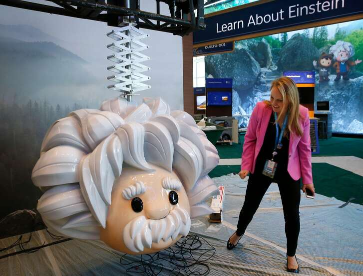 Brigitte Donner, vice president, Dreamforce Conference Chair, views a display being set up in the Einstein Ridge zone at Moscone Center in San Francisco, Calif. on Friday, Sept. 21, 2018. The annual conference hosted by Salesforce featuring a national park theme is expected to draw as many as 170,000 attendees.