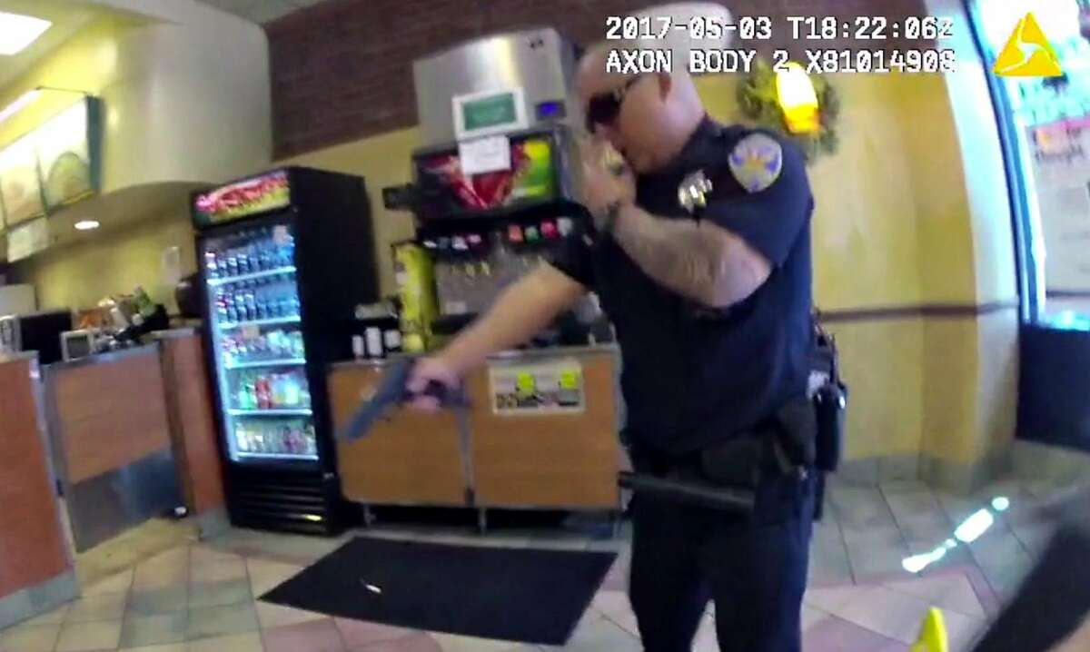 A frame grab from video footage recorded by a San Francisco Police officer's body camera, showing the SFPD response to a report of a physical altercation inside a Subway store located on the 900 block of Market Street. This incident occurred on Wednesday May 3, 2017 at 11:22 AM.