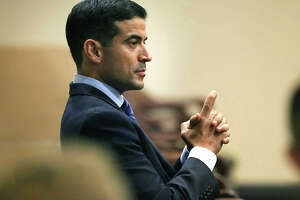 Bexar County District Attorney Nico LaHood in court in 2018. His office twice declined to bring criminal charges against former San Antonio police officer Matthew Martin for allegedly altering evidence in a drug arrest and lying under oath before an arbitrator.