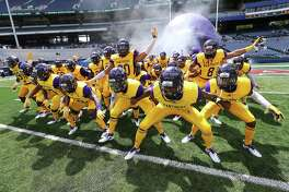 Prairie View A&M takes the field to play North Carolina Central in the MEAC-SWAC Challenge college football game on Sunday, Sept. 2, 2018, in Atlanta, Ga.