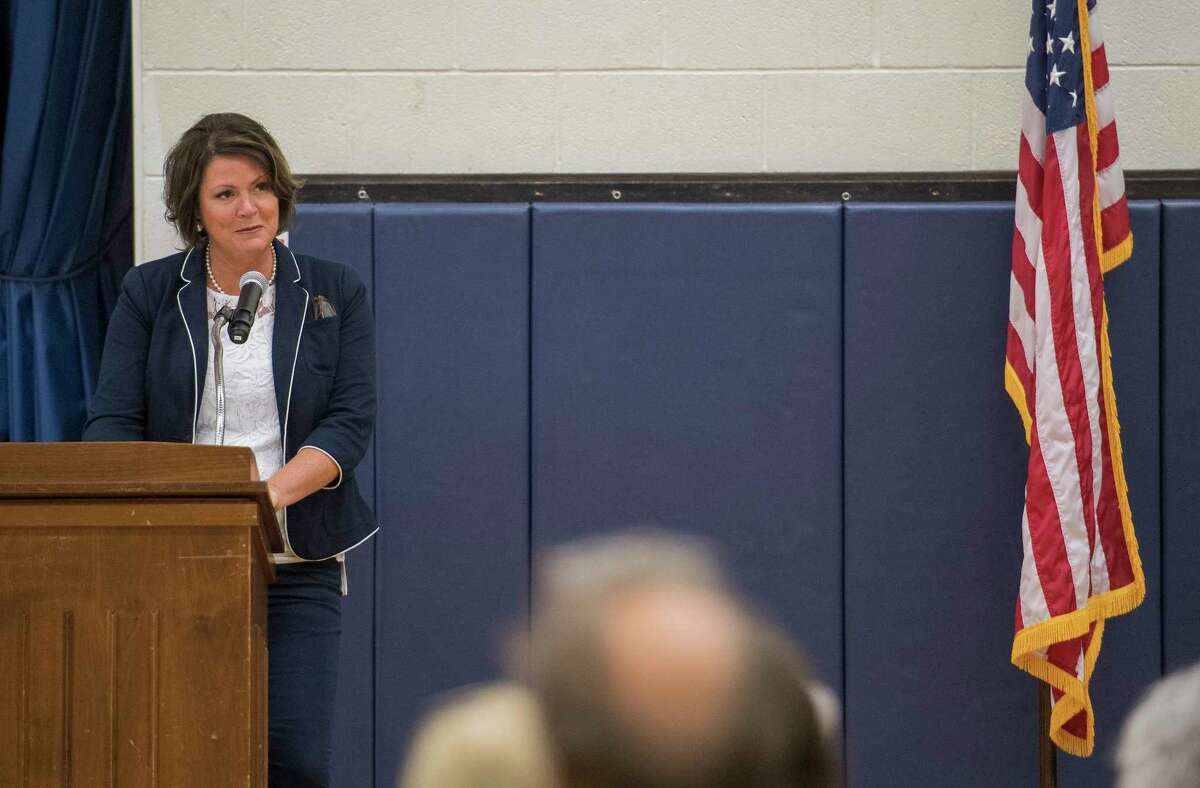 Lake George Central School District Superintendent Lynne Rutnik speaks during the assembly for the 50th anniversary celebration of the Lake George Elementary School Friday Sept.21, 2018 in Lake George, N.Y. (Skip Dickstein/Times Union)