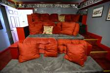 Cozy theater seating in the movie room at the Book Nook Inn bed and breakfast in Lumberton. The bed and breakfast has used Airbnb since they first opened. Photo taken Thursday 9/20/18 Ryan Pelham/The Enterprise