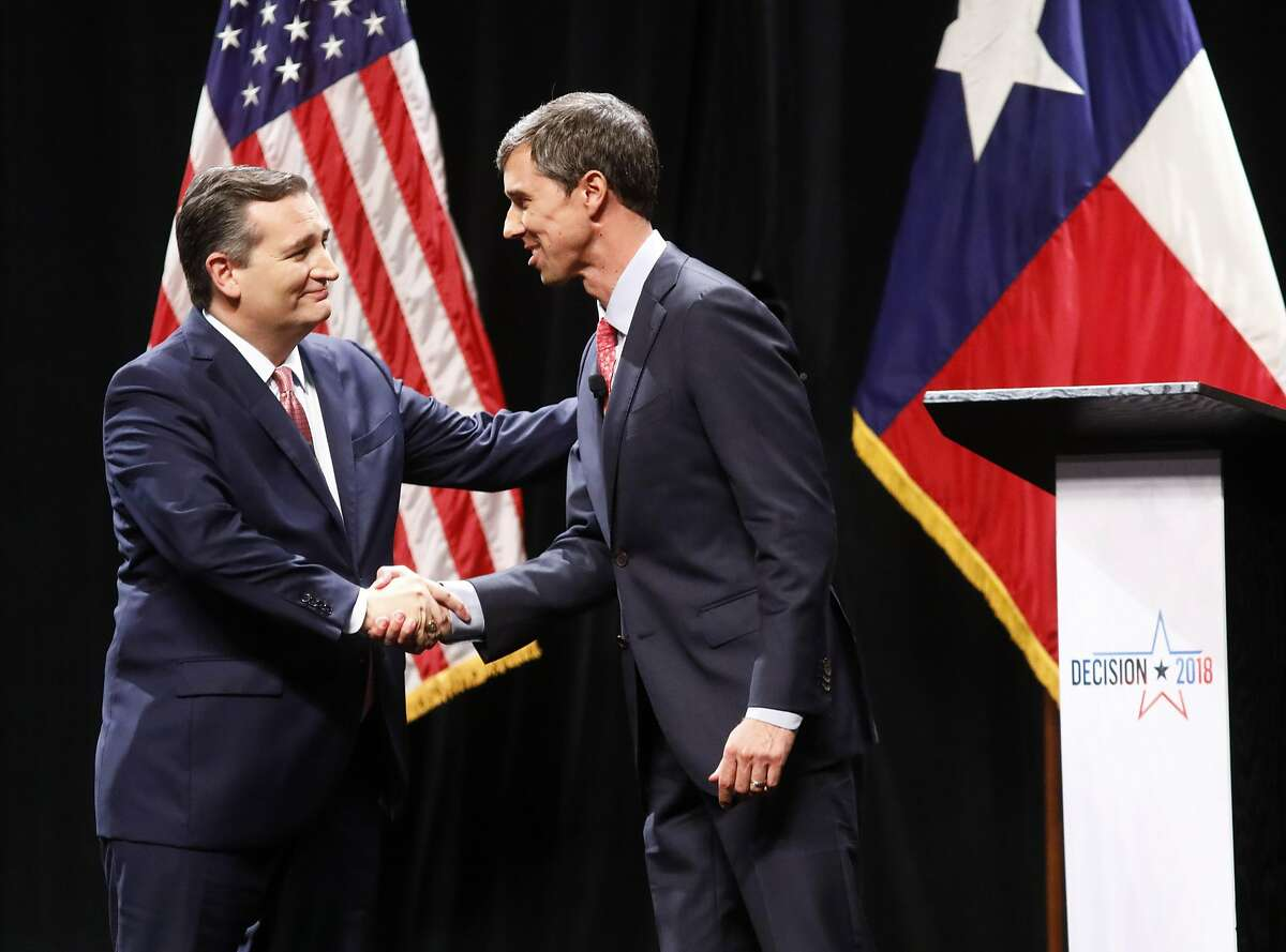 Sen. Ted Cruz (R-TX) and Rep. Beto O'Rourke (D-TX) shake hands after a debate at McFarlin Auditorium at SMU on September 21, 2018 in Dallas, Texas. (Photo by Tom Fox-Pool/Getty Images) >>> See where the candidates stand on the biggest issues facing Texas ...
