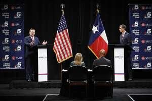 Republican U.S. Senator Ted Cruz, left, and Democratic U.S. Representative Beto O'Rourke, right, take part in their first debate for the Texas U.S. Senate in Dallas, Sept. 21, 2018. (Tom Fox /The Dallas Morning News via AP, Pool)