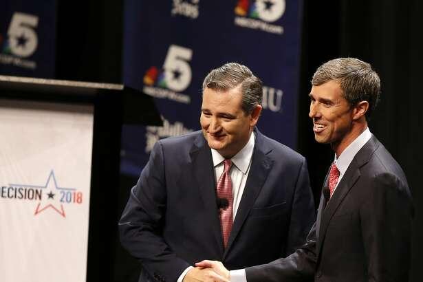 Sen. Ted Cruz (R-Texas) and Rep. Beto O'Rourke (D-Texas) after a debate at McFarlin Auditorium at Southern Methodist University in Dallas on Friday, Sept. 21, 2018. (Nathan Hunsinger/Dallas Morning News/TNS)