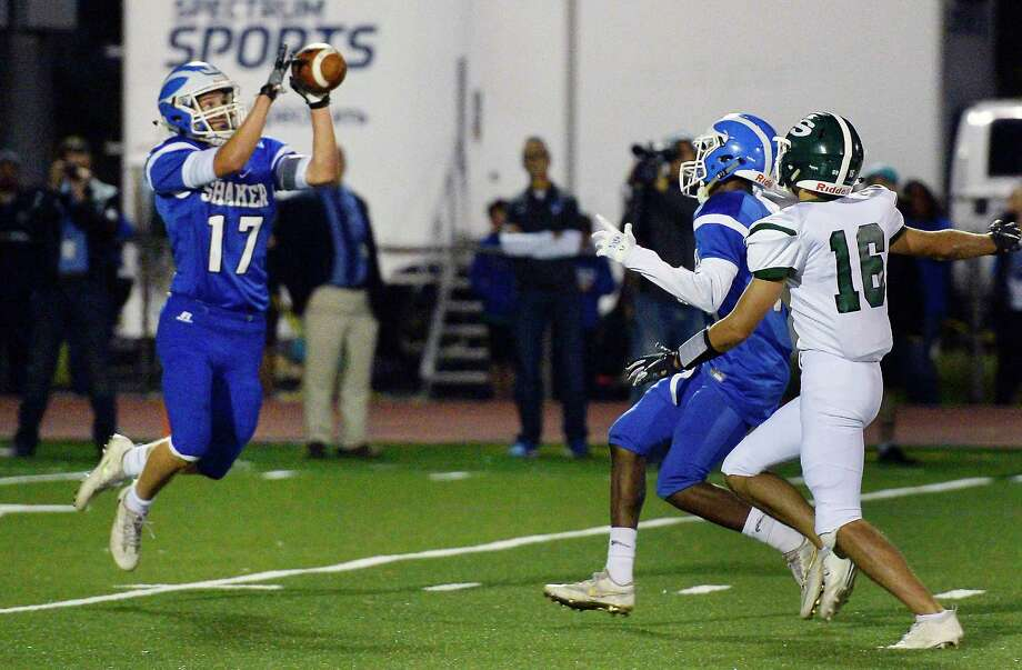 Shaker's #17 Shane Lavender intercepts a Shenendehowa pass during Friday night's game Sept. 21, 2018 in Colonie, NY.  (John Carl D'Annibale/Times Union) Photo: John Carl D'Annibale / 20044879A