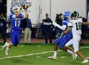 Shaker's #17 Shane Lavender intercepts a Shenendehowa pass during Friday night's game Sept. 21, 2018 in Colonie, NY.  (John Carl D'Annibale/Times Union)