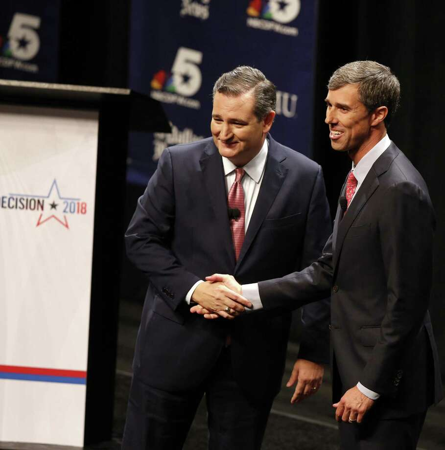 PHOTOS: Internet reacts U.S. Sen. Ted Cruz, R-Texas, and Rep. Beto O'Rourke, D-Texas, appear after a debate at McFarlin Auditorium at Southern Methodist University on Friday. >>Many Twitter users were watching the debate, too. Here are some of the reactions.  Photo: Nathan Hunsinger,  POOL / TNS / Dallas Morning News