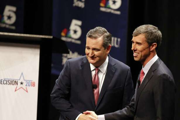 U.S. Sen. Ted Cruz, R-Texas, and Rep. Beto O'Rourke, D-Texas, appear after a debate at McFarlin Auditorium at Southern Methodist University in Dallas on Friday, Sept. 21, 2018.