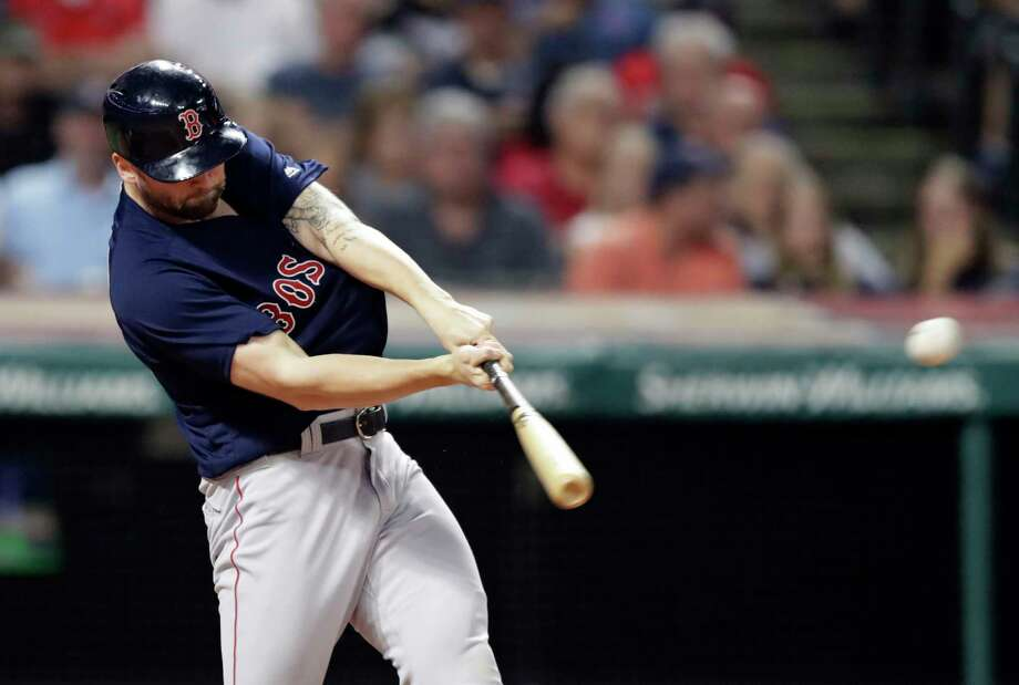 Boston Red Sox's Sam Travis hits a two-run double in the seventh inning of a baseball game against the Cleveland Indians, Friday, Sept. 21, 2018, in Cleveland. (AP Photo/Tony Dejak) Photo: Tony Dejak / Copyright 2018 The Associated Press. All rights reserved.