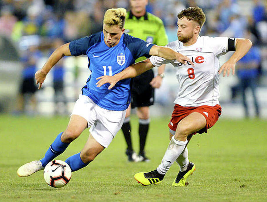 Leo Novaes of Saint Louis University (11) tries to move past SIUE's Keegan McHugh during Friday night's Bronze Boot soccer game at Hermann Stadium in St., Louis. The teams tied 1-1. Photo: SLU Athletics
