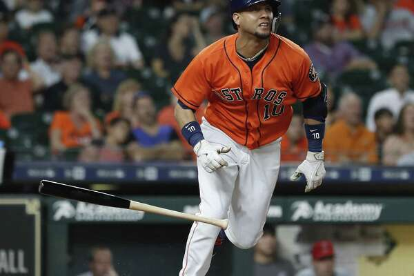 Yuli Gurriel follows the flight of his first-inning grand slam against the Angels on Friday night. Gurriel finished with two homers and seven RBIs.