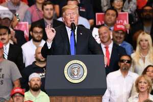 President Donald Trump gestures as he speaks during a rally in Las Vegas, Nevada, on Thursday, Sept. 20, 2018. Trump continued to hit out at China days after announcing another round of tariffs, signaling the trade war won't end any time soon.