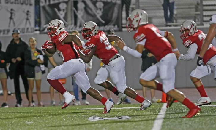 Judson's Rashad Wisdom has a convoy as he returns a fumble recovery for a 85 yardTD. Steele at Judson on Tuesday, September 21, 2018 a Rutledge Stadium