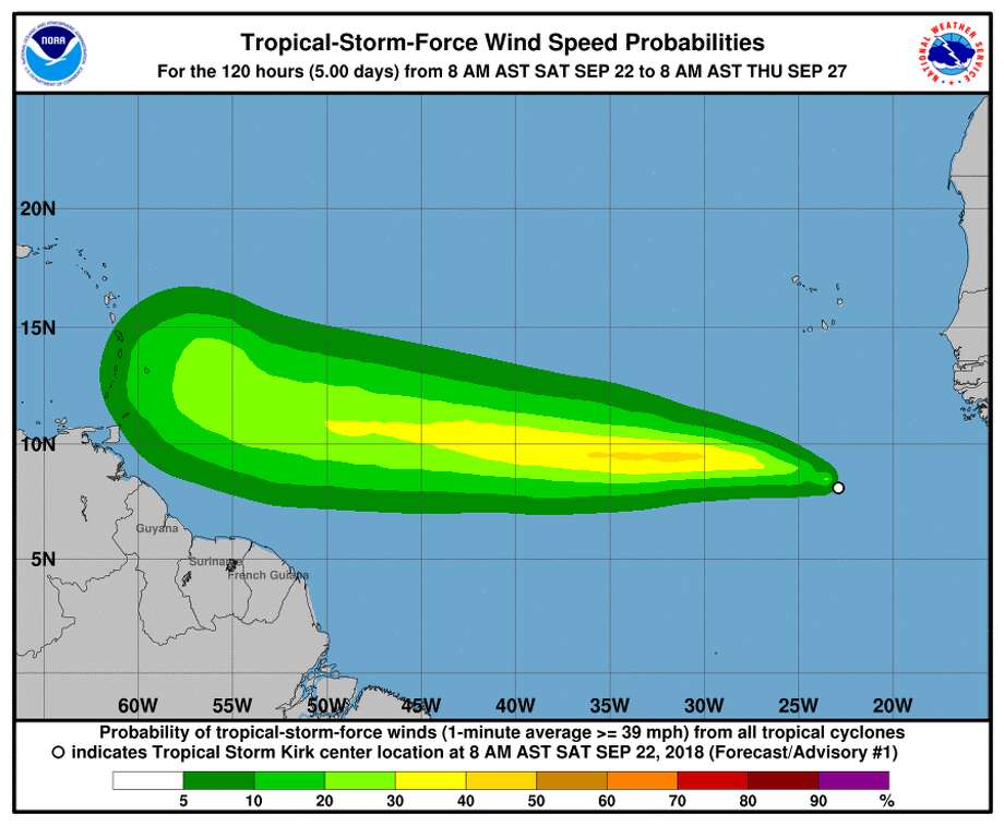 Weather forecasters say Tropical Storm Kirk has formed in the eastern Atlantic and is moving rapidly westward. Photo: National Hurricane Center