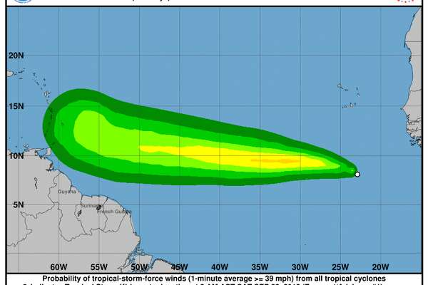 Weather forecasters say Tropical Storm Kirk has formed in the eastern Atlantic and is moving rapidly westward.