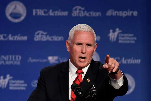 Vice President Mike Pence speaks at the 2018 Values Voter Summit in Washington, Saturday, Sept. 22, 2018.