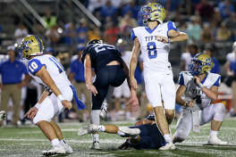 Kerrville Tivy's Jared Zirkel (8) watches his 45-yard field goal sail through the uprights during the second half of their District 14-5A-II high school football game at Boerne Stadium on Friday, Sept. 21, 2018.