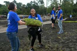 Almandi Kidd, center, from Houston, and fellow veterans Heather Byington, left, from Detroit, MI., and Sean Tyler, right, from Pittsburgh, PA., lead the sod line in the Cypress Creek Ramble at Mercer Botanic Gardens on Sept. 22, 2018, as part of the group's work to restore the area which was heavily damaged during Hurricane Harvey and the Tax Day flood of 2016.