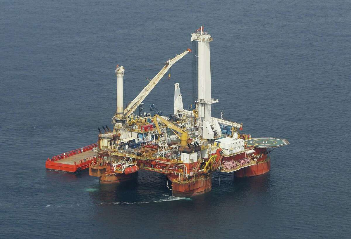 In this Sept. 4, 2010 picture, the Helix Q4000, the vessel responsible for lifting the Deepwater Horizon blowout preventer stack from the sea floor, is seen on the Gulf of Mexico near the coast of Louisiana. (AP Photo/Patrick Semansky)
