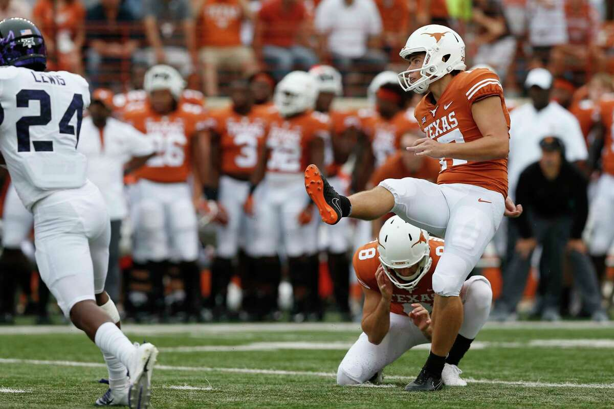 Cameron Dicker #17 of the Texas Longhorns kicks a field goal in the second quarter against the TCU Horned Frogs at Darrell K Royal-Texas Memorial Stadium on September 22, 2018 in Austin, Texas.