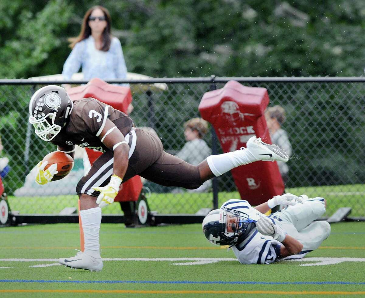 Brunswick running back Jalen Madison crosses the goal line for a touchdown against Hotchkiss on Saturday.