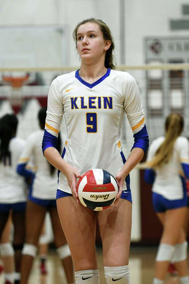 Klein freshman outside hitter Kierstyn McFall (9) was named Newcomer of the Year. Photo: Jerry Baker, Houston Chronicle / Contributor / Houston Chronicle