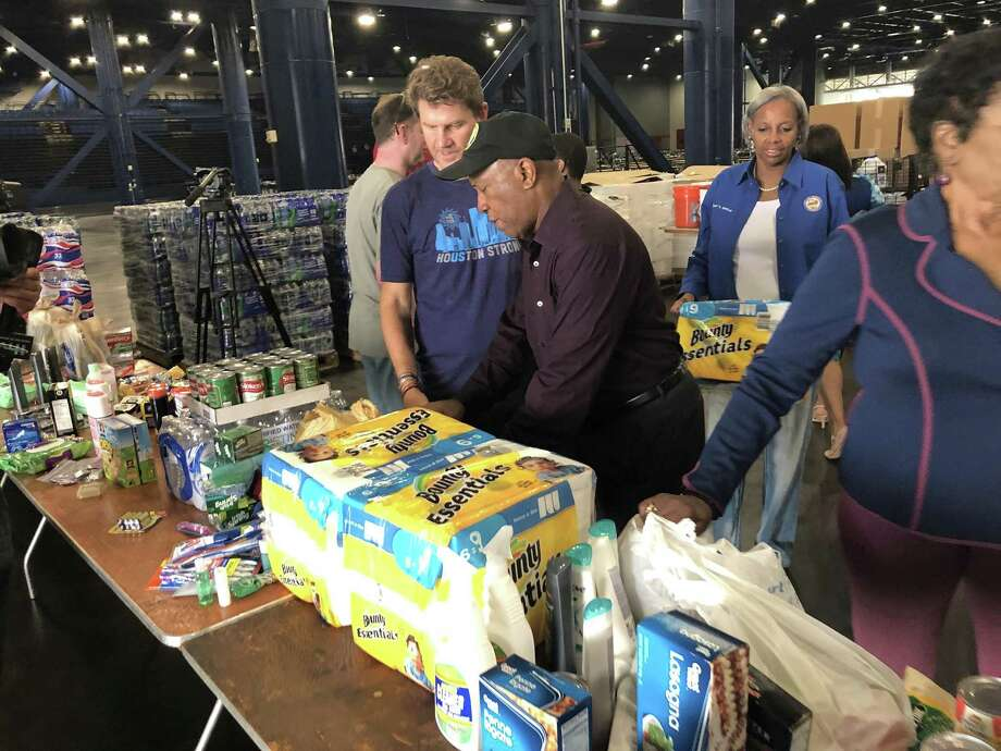 Houston Mayor Sylvester Turner stops by the George R. Brown Convention Center on Saturday afternoon, where volunteers were collecting donations to send to victims of Hurricane Florence. Photo: Courtesy: Jeff Syptak (City Of Houston) / Courtesy: Jeff Syptak / Houston Chronicle