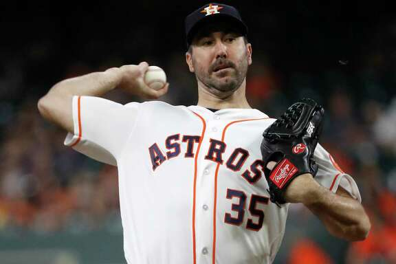 Houston Astros starting pitcher Justin Verlander (35) pitches during the first inning of an MLB baseball game at Minute Maid Park, Saturday, September 22, 2018, in Houston.