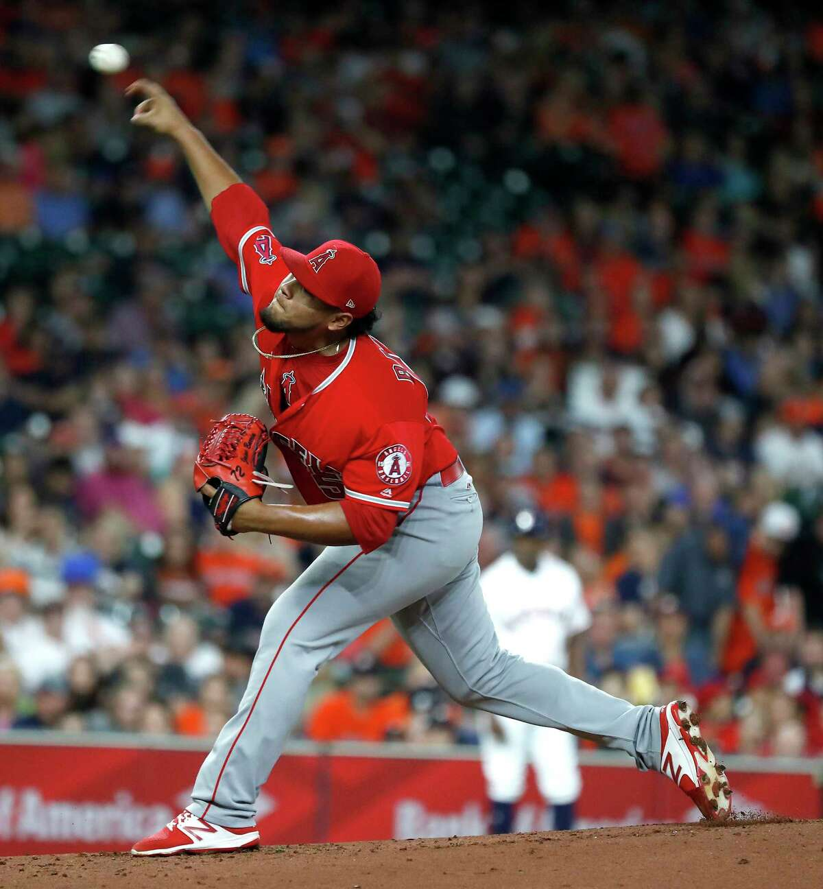 Los Angeles Angels starting pitcher Jaime Barria (51) pitches during the first inning of an MLB baseball game at Minute Maid Park, Saturday, September 22, 2018, in Houston.