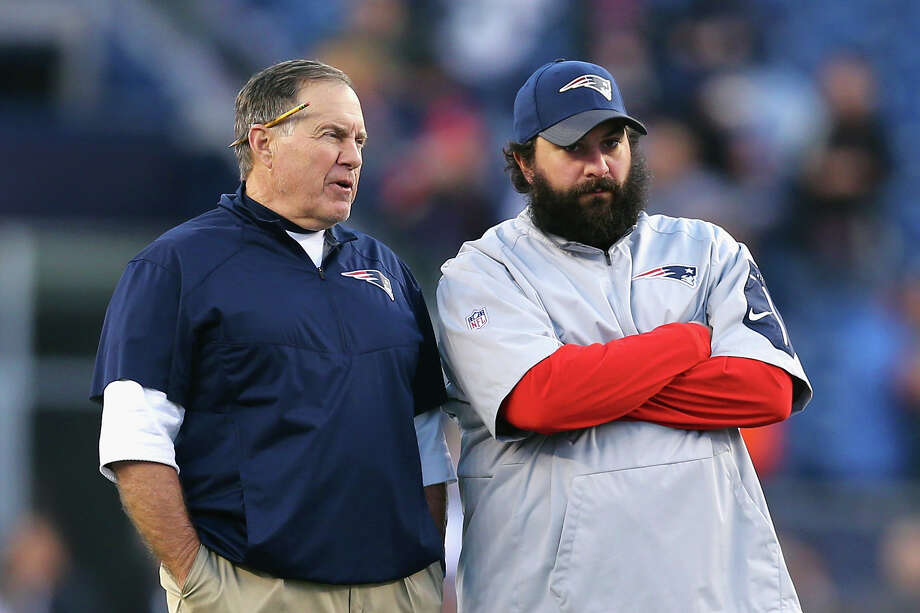 FOXBORO, MA - DECEMBER 06: Patriots head coach Bill Belichick of the New England Patriots talks with defensive coordinator Matt Patricia before their game against the Philadelphia Eagles at Gillette Stadium on December 6, 2015 in Foxboro, Massachusetts.  (Photo by Maddie Meyer/Getty Images) ORG XMIT: 587436031 Photo: Maddie Meyer / 2015 Getty Images