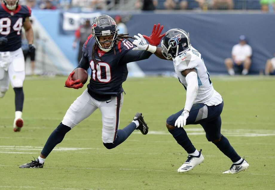 Houston Texans wide receiver DeAndre Hopkins (10) plays against Tennessee Titans defensive back Malcolm Butler (21) in the first half of an NFL football game Sunday, Sept. 16, 2018, in Nashville, Tenn. (AP Photo/Mark Zaleski) Photo: Mark Zaleski, FRE / Associated Press / Copyright 2018 The Associated Press. All rights reserved