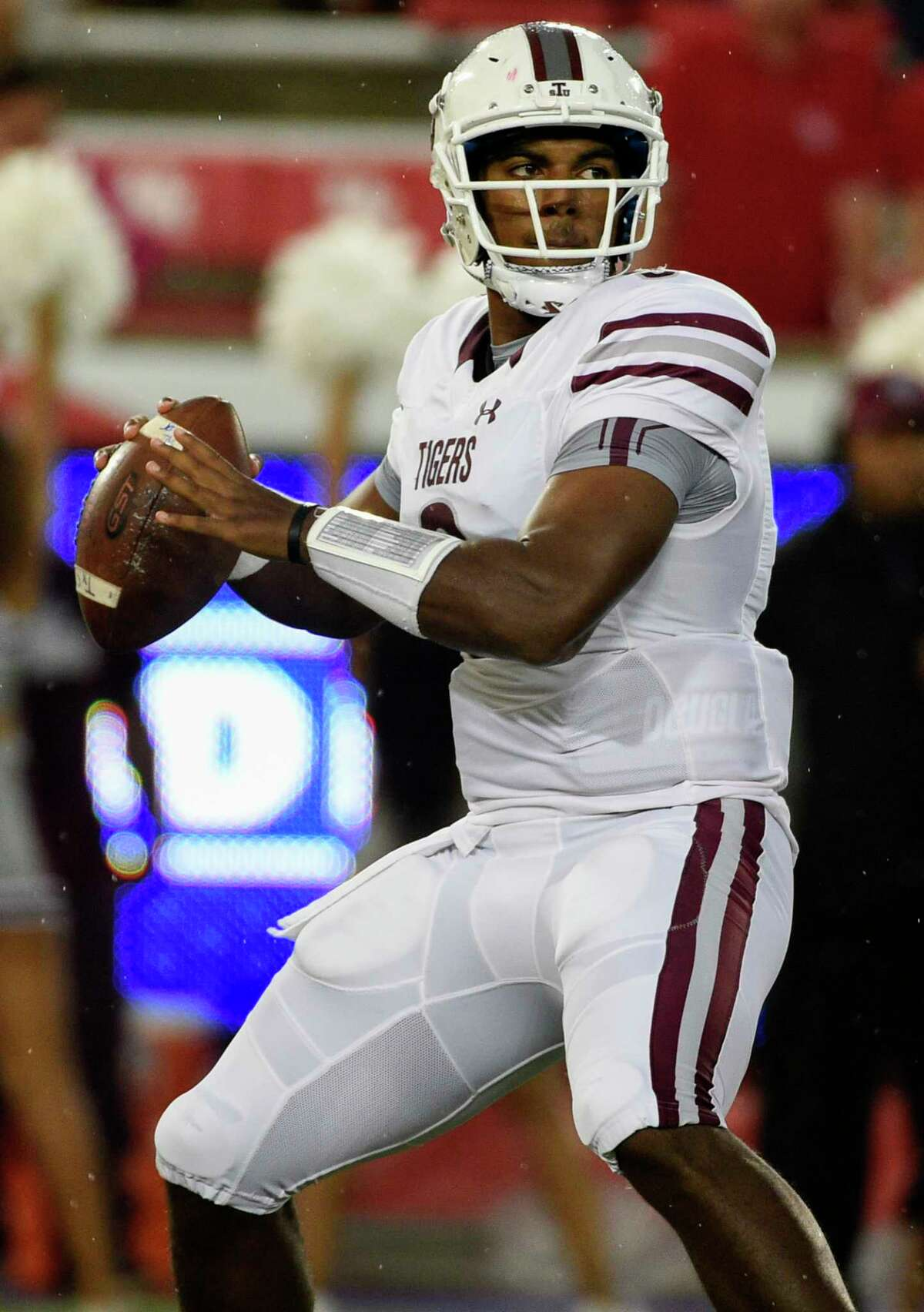 Texas Southern quarterback Glen Cuiellette drops back to pass during the first half of an NCAA college football game against Houston, Saturday, Sept. 22, 2018, in Houston.